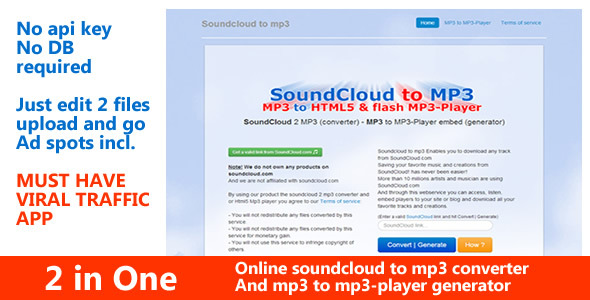 SoundCloud 2 Mp3 Converter and 3mp to mp3-player